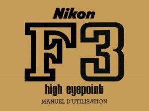 MODE D'EMPLOI NIKON-F3